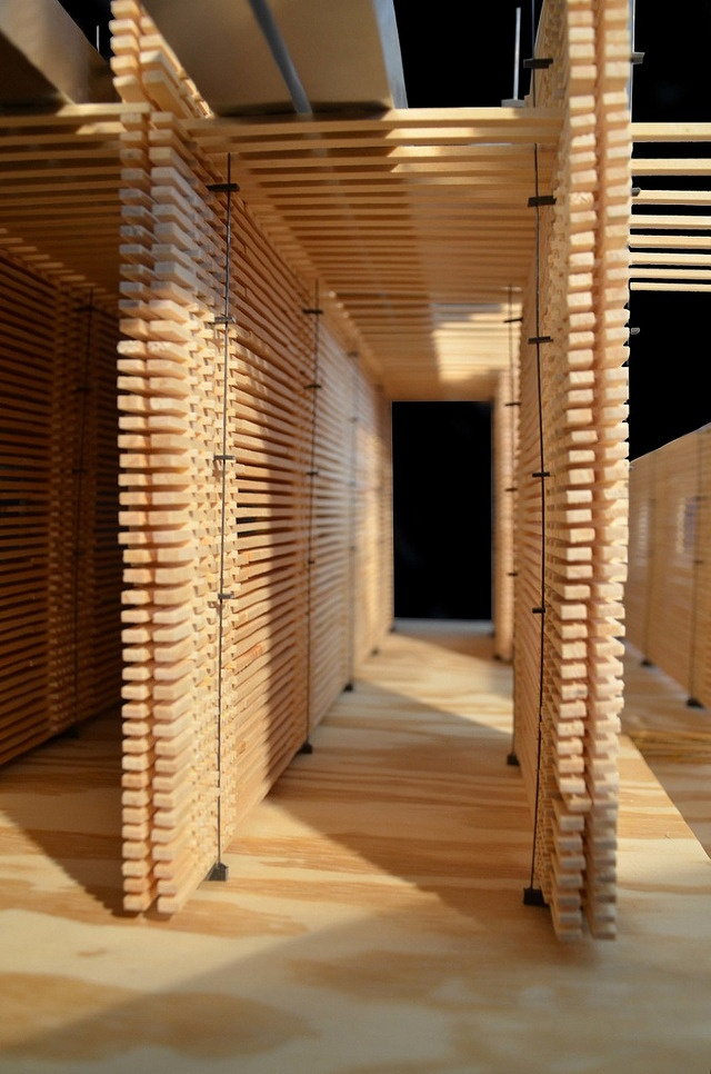 Boards And Beams Structural Model Of Peter Zumthor's Swiss Pavilion (swiss