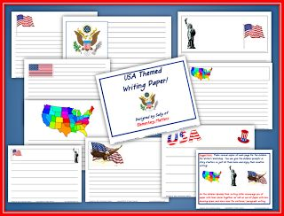 Elementary Matters: Hooray for the USA! Patriotic paper FREEBIE. Appropriate for any USA holiday: Constitution Day, Veterans Day, President's Day, Flag Day, Memorial Day, or Independence Day