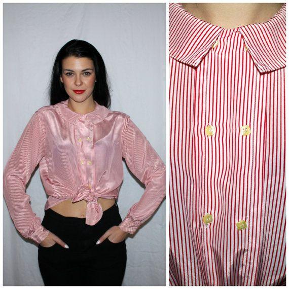 Vintage 80s Striped Nautical Blouse Red  by PastLivesofNewYork, $38.00