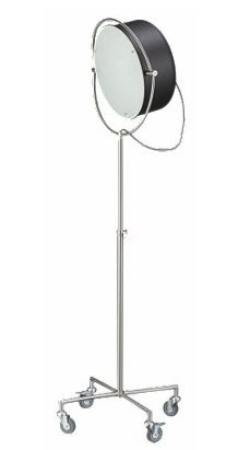 "Beacon Floor Lamp by CB2: Retake of a studio source lamp from the 40's, the matte black steel head with a frosted glass diffuser angles easily, adjusts from 59 - 71"" and rolls on industrial casters. $249"