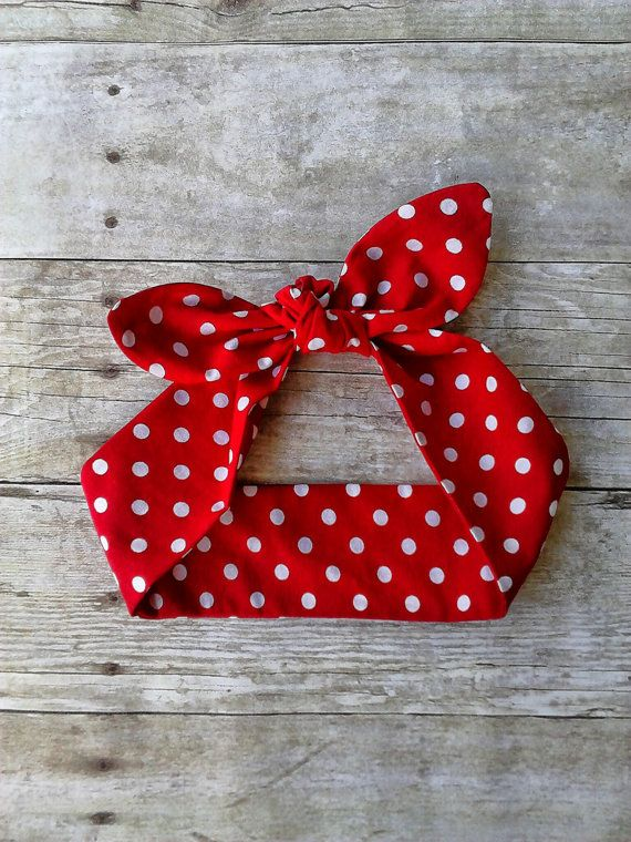Red polka dot headband bandana knot 1950s hair tie Rosie the riveter retro rockabilly style made by FlyBowZ