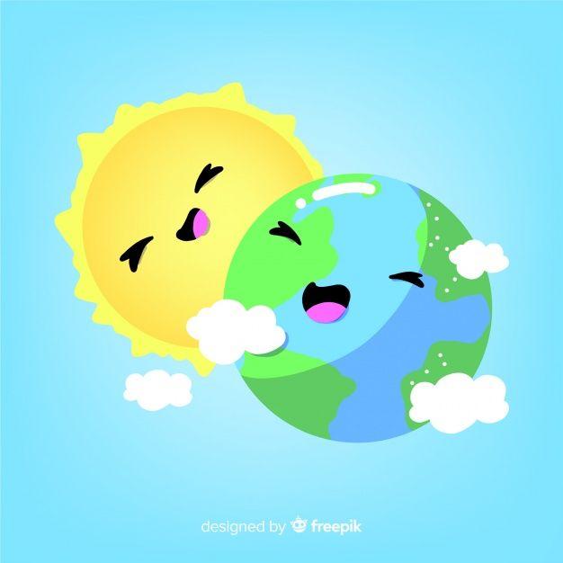 Fondo Divertido De La Tierra Y El Sol Vector Gratuito Como Dibujar Un Libro Fondo Divertido La Tierra Dibujo