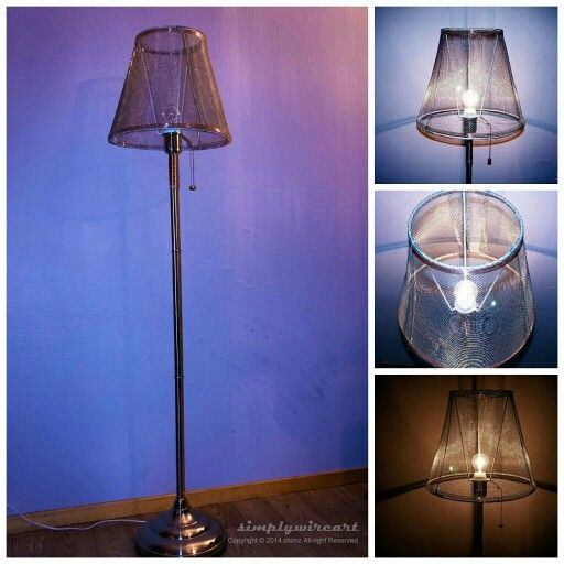 Wire mesh lamp shade with a twist