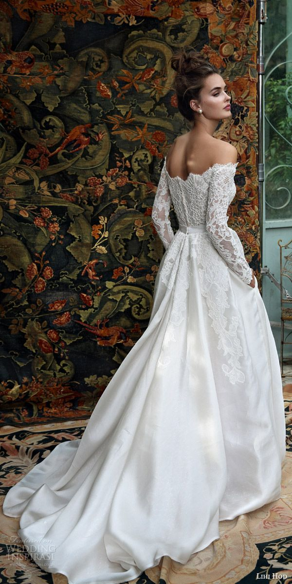 lihi hod bridal 2016 madison romantic ball gown wedding dress off shoulder long sleeve lace top back view train w pockets!