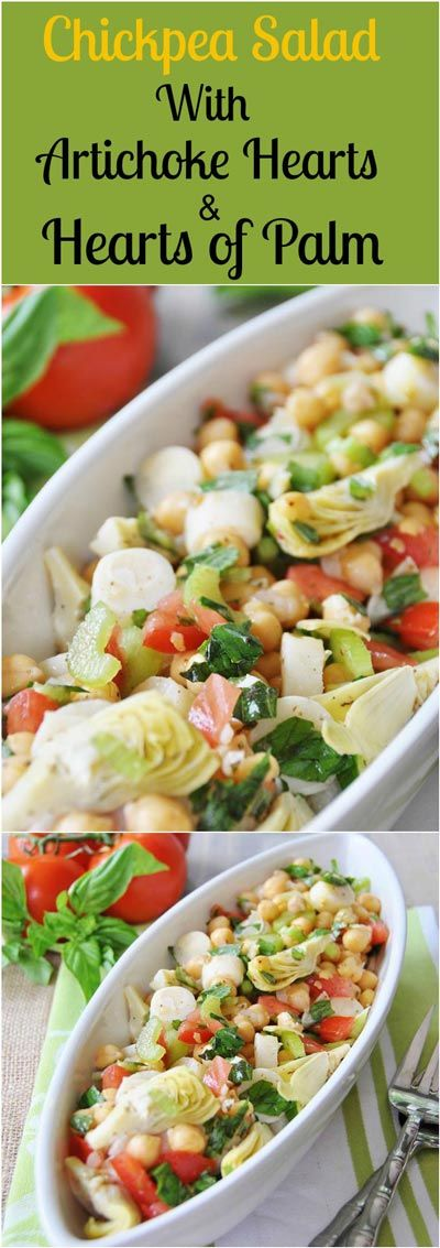 Chickpeas, hearts of palm, artichoke hearts, and crunchy veggies that are dressed with a lemon vinaigrette. Healthy, crunchy, and delicious!