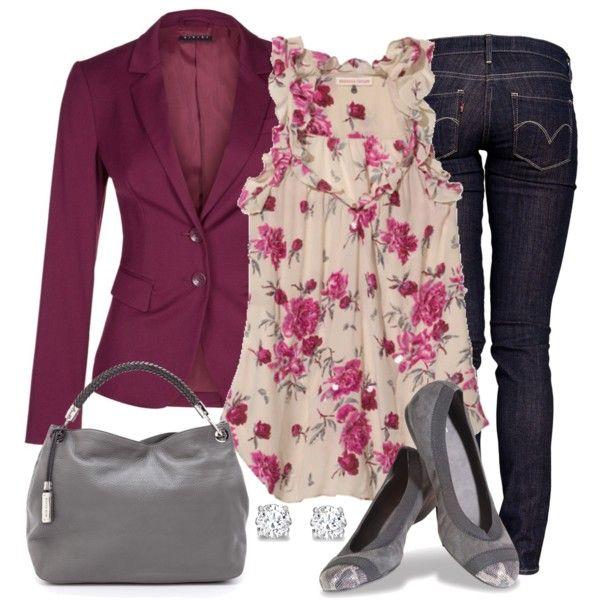 """Blazer, Skinny Jeans & Flats"" by wishlist123 on Polyvore"