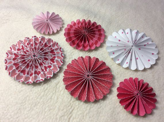 Paper Rosettes...6 Piece Set of Very Sweet Valentine Themed