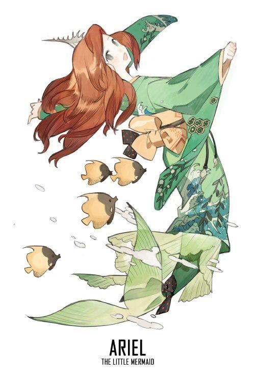Here's a series of fan art featuring many of the Disney Princesses wearing  Japanese-style kimonos. As you'll see, the illustrations are really quite  beautiful. They were created by starshadowmagic, and as the art spreads  across the internet, I'm sure a group of cosplayers will get together to  bring these character costume designs to life.  Via: GeekXGirls