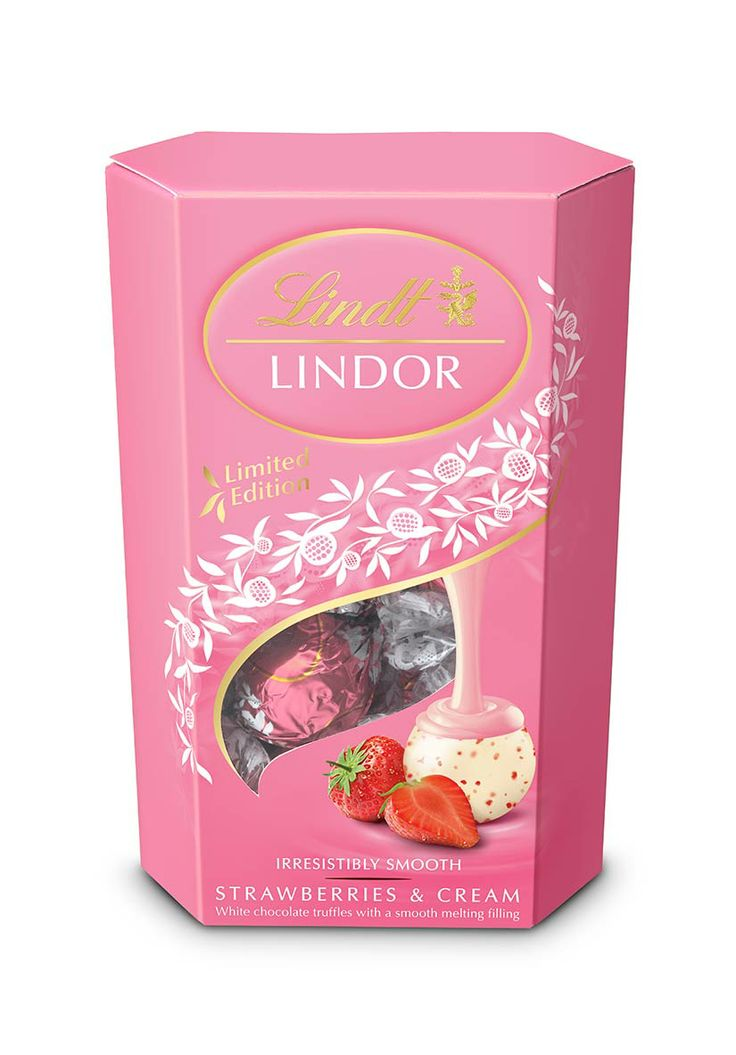 Lindor Lindt Chocolates, strawberries and cream limited edition packaging, Valentines Day 2014.