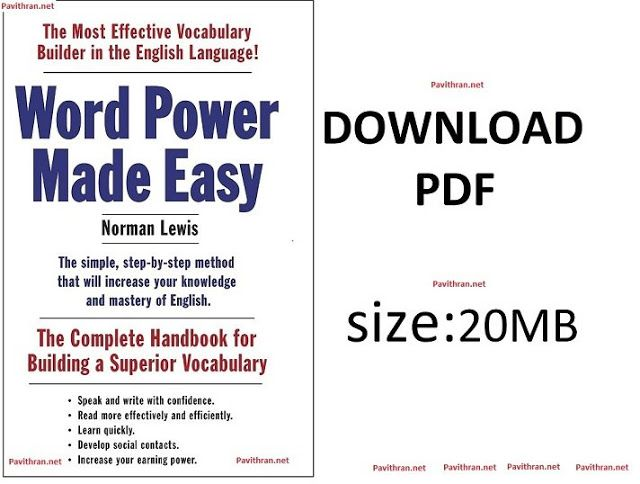 Word Power Made Easy By Norman Lewis Book Pdf Download With