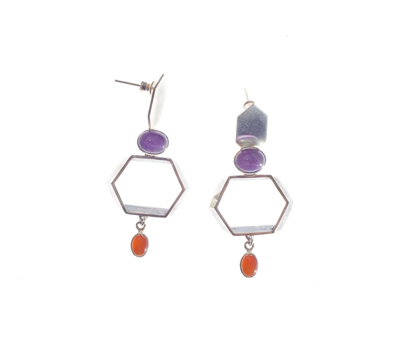Amethyst & Carnelian Cocktail Earrings