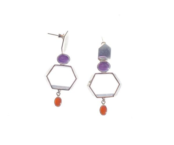 Amethyst & Carnelian Cocktail Earrings