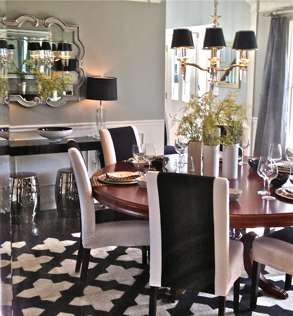 Love This Dining Room From South Shore Decorating Gray Walls Dark Wood Table White Parsons Chairs Minus The Black Stripe Geometric Rug Pretty Chandy