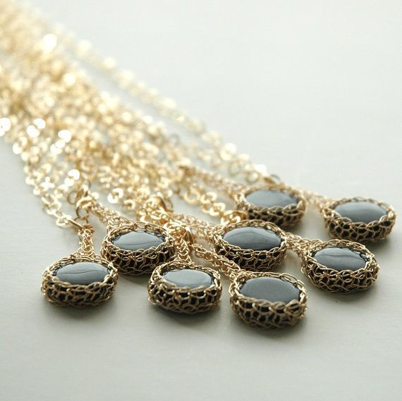 Bridesmaid necklaces  a set of 8 bridesmaid onyx crochet by Yoola, $324.00