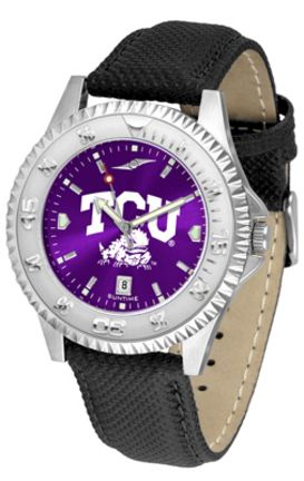 Texas Christian Horned Frogs Competitor AnoChrome Men's Watch with Nylon/Leather Band