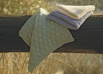 De lækre vaskeklude er strikket i hver sit nemme, lille strukturmønster