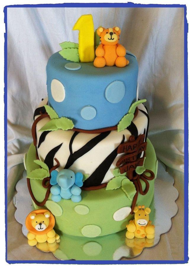 baby boys first birthday cakes | Jungle Baby Boy — Children's Birthday Cakes