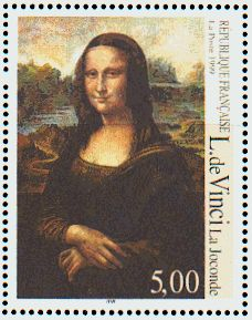 Mona Lisa by Leonardo da Vinci. Called La Joconde in French;  La Gioconda in Italian. The stamp is French and the painting itself can be viewed at the Louvre in Paris.