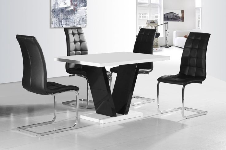 CONTEMPORARY BLACK AND WHITE HIGH GLOSS DINING SET WITH 4x BLACK CHAIRS,
