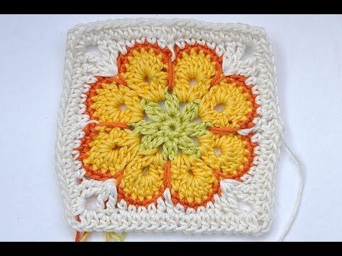 "How to Crochet * Granny Square ""Somalia"" * African Flower * Paperweight-do w/o white border"