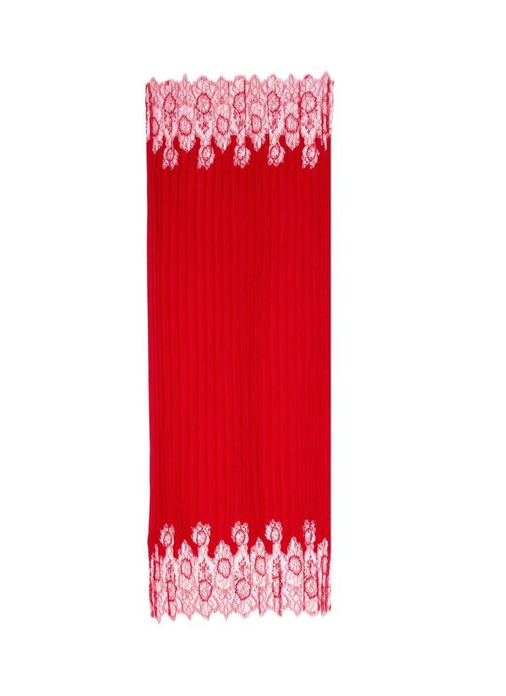 VALENTINO Floral Lace Trim Plissé Pleat Scarf. #valentino #scarf