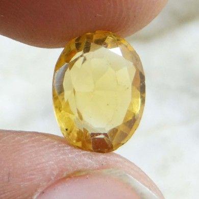 3.55Cts 100% AA+ Natural Untreated Yellow Citrine Stone Ellipse Brazil Gemstone