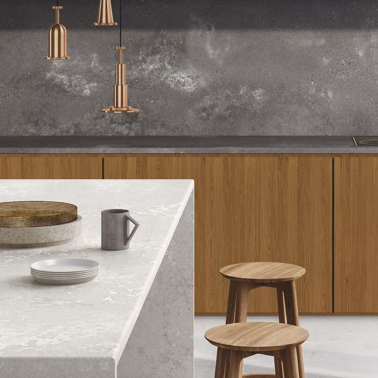 In perfect harmony Create the industrial dream kitchen using New 2017 Designs | Rugged Concrete & Cloudburst Concrete | Add layers of natural elements Brass or Gold fittings Polished concrete floors Design Freedom. Endless Possibilities. #clickthelinkinbio Discover New 2017 Designs #caesarstone #caesarstoneau #cloudburstconcrete #ruggedconcrete #new2017design