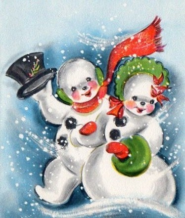 Little Snow Couple Christmas Card Fro Mindegohillstudio On EBay CardsChristmas PostcardsChristmas SnowmanRetro