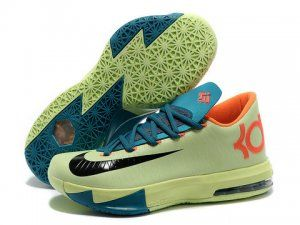 Nike Zoom KD 6 Light Green Blue Orange Black Shoes are cheap sale online.  Buy
