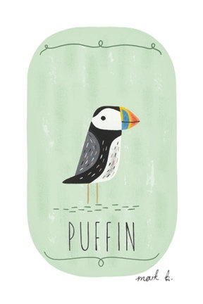 Puffin - 6x4 archival art print - gouache painting on green background. $10.00, via Etsy.