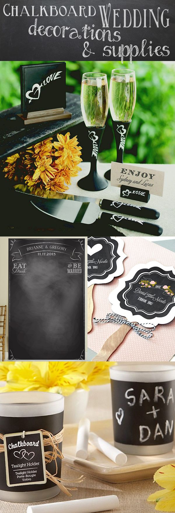 From sweet chalkboard candle favors to photo booth backdrops, hand fans, and ceremony accessories, find the perfect decorations for your chalkboard wedding here.  Use chalkboard decor to compliment your rustic or shabby-chic wedding, or deck out your entire ceremony and reception with chalkboard inspired items for a fun chalkboard wedding!