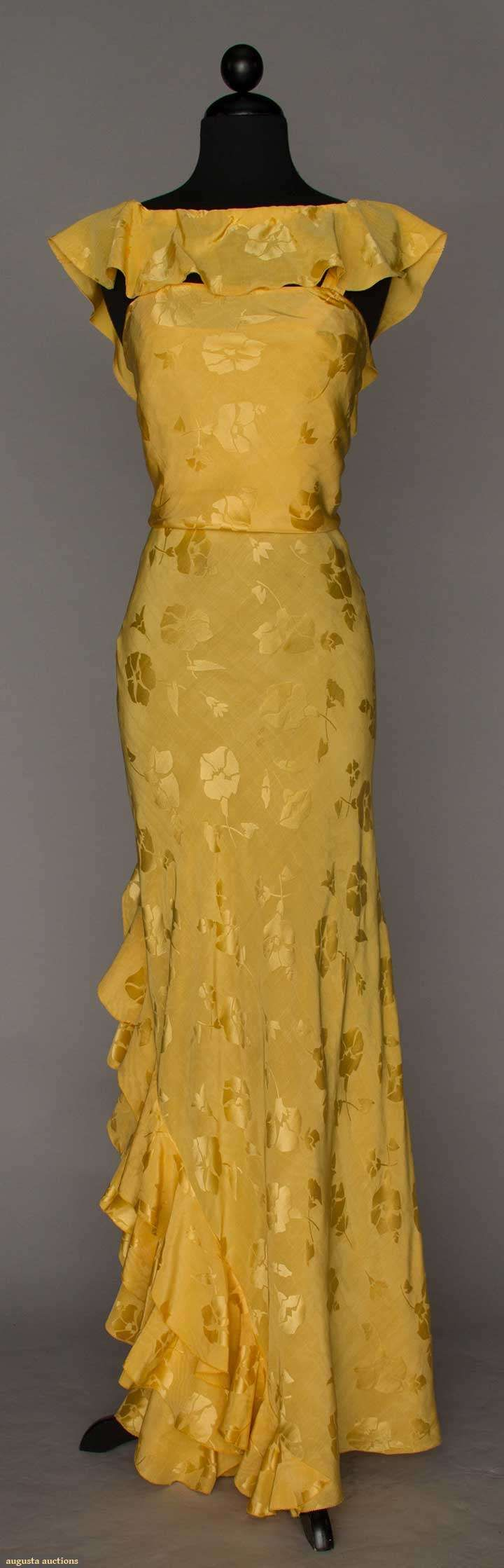 YELLOW SILK EVENING GOWN, 1930s                                                                                                                                                      More