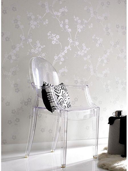 White cherry blossom mica wallpaper
