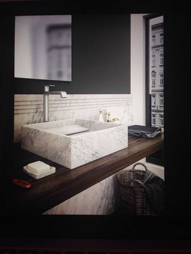 INCLINIO - lavabo in marmo bianco a piani inclinati / white marble washbasin with inclinated planes GRACEFUL DESIGN !