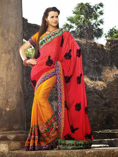 Alluring Deep Scarlet Red & Orange Embroidered Saree | StylishKart.com