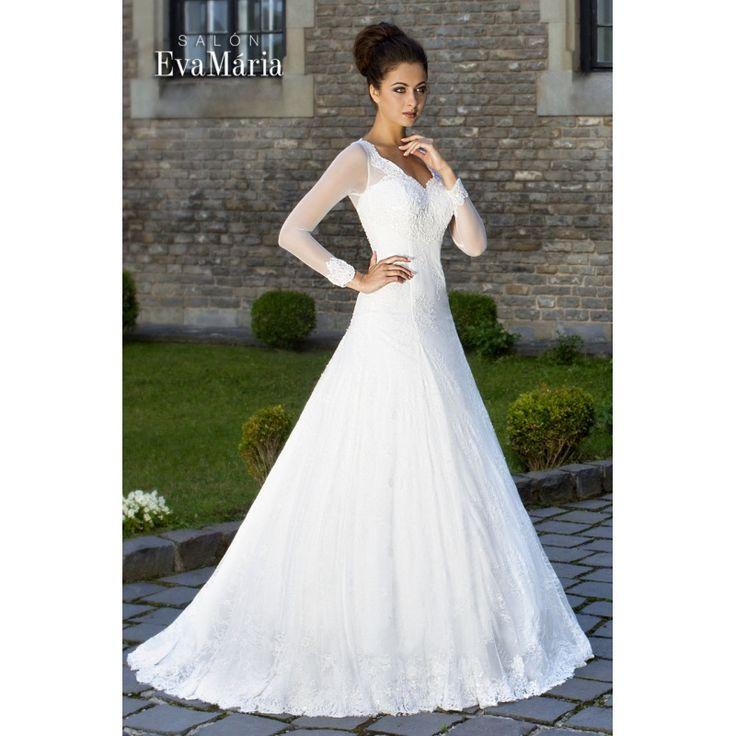 Svadobné krajkované šaty s dlhým rukávom Kendis
