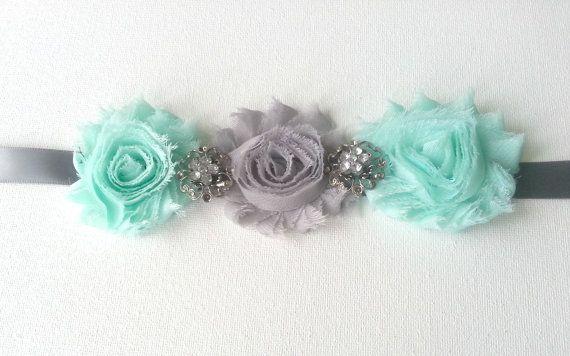 Aqua Maternity Sash- Gray Maternity Sash- Gray Wedding Sash-Flower Girl Sash…