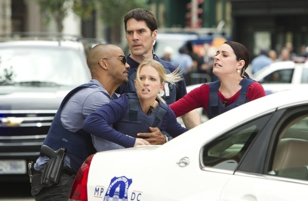 Season 7 episode Hit/Run. This is as Will is walking up to the bank that is over taken by international criminal Izzy, and girlfriend Jennifer Jareau (JJ) is forced to be held back so she won't get hurt.