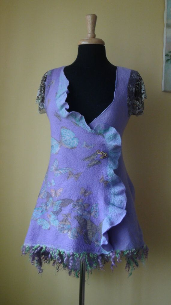 Nuno felted vest , light purple and light green,  Reversible  2 in 1