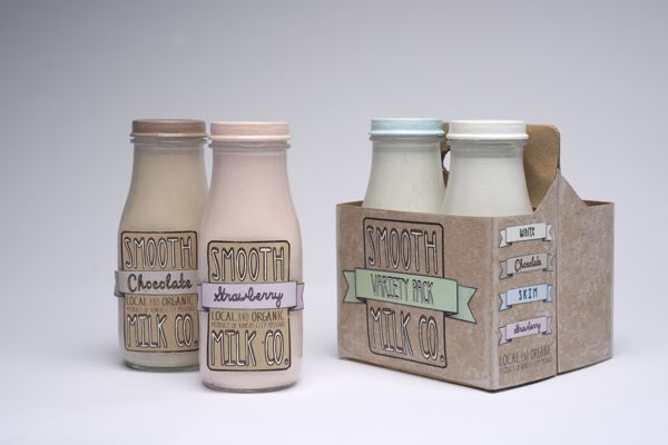 Smooth Milk Company   Bottle Labels and Packaging by Katey Poteet, via Behance