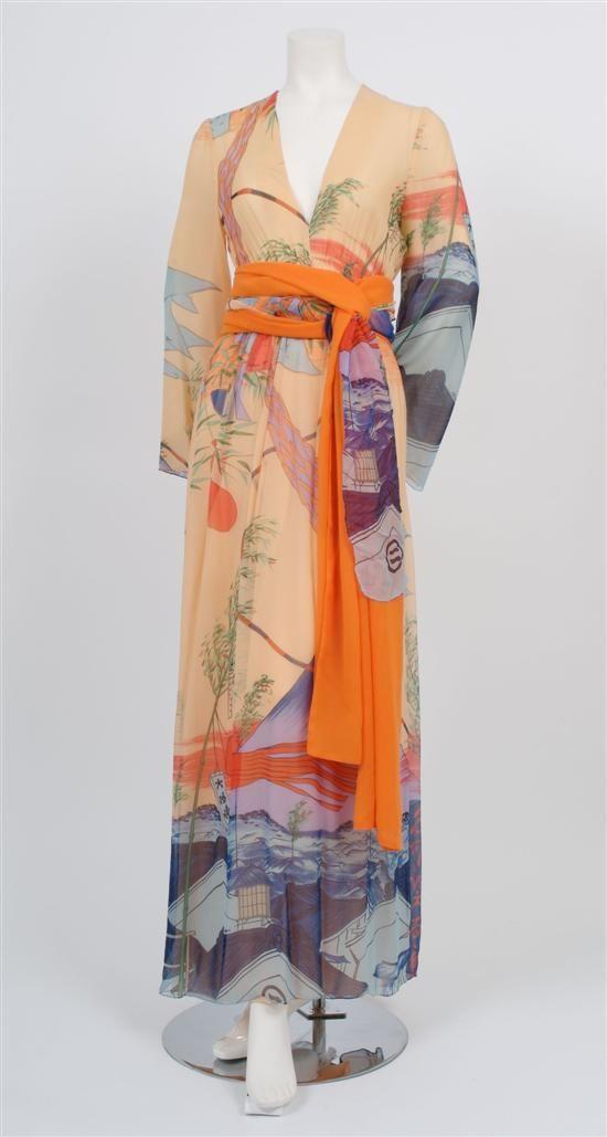 Peach silk maxi-dress, Hanae Mori, 1970's.