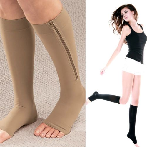 Zippered-Compression-Knee-Socks-Supports-Stockings-Leg-Open-Toe-Pressure-Socks