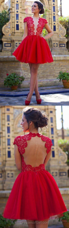 Red Prom Dresses, Short Prom Dress, Lace Homecoming Dress, Backless Homecoming Dresses, Princess Cocktail Dress