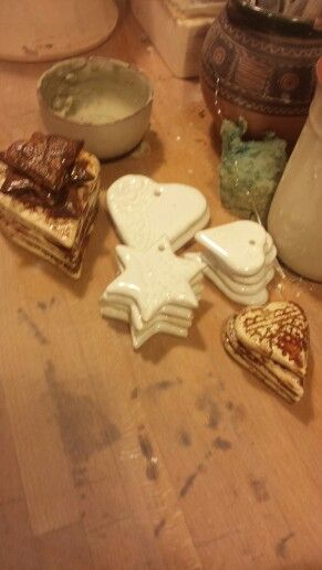 Christmas decorations .. hearts stars .. ceramic