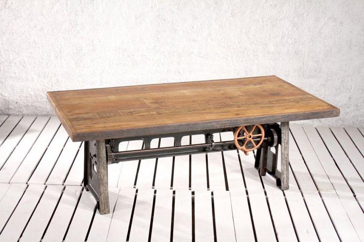 Ett spektakulärt bord!   Kan användas som både matbord och barbord och höjs och sänks på ett enkelt sätt med hjälpa av en vev.   Bordsskiva av återvunnet trä och underrede av återvunnet gjutjärn.  Längd/Bredd/Höjd: 200/100/75-100 cm eller Längd/Bredd/Höjd: 240/100/75-100 cm eller  Bordet som är 200 cm är tillgängligt för leverans i början av juli medan övriga storlekar är beställningsvara.  Går att få i andra längder och bredder upp till 245 cm, pris enligt offert