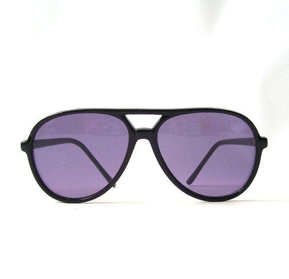 vintage 1980's aviator sunglasses black frames purple lenses by RecycleBuyVintage, $25.00