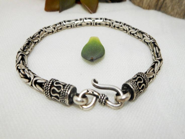 """Classic Handcrafted Sterling Silver 4,5 mm Thick Sterling Silver Byzantine Bracelet 8"""" Long,Bali Chain,Byzantine Chain,Personalized Gifts by Supsilver on Etsy"""