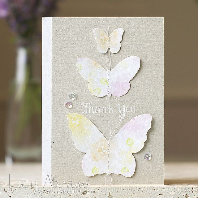 Very pretty butterfly Thank You Card by Lucy Abrams using 'Pink Grapefruit ' watercolour papers.