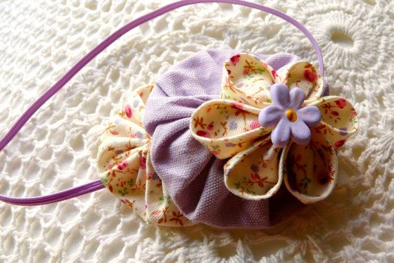 Lilac flower and yoyo skinny headband by ImwtheBand