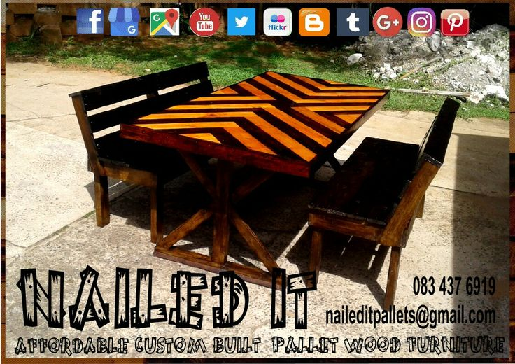 6 seater dining room table with backrest benches. Affordable pallet wood furniture designed by you, built by us. For more info, contact 0834376919 or naileditpallets@gmail.com #farmstyletable #palletfarmstyletable #palletdiningtable #palletwooddiningtable #diningtable #naileditcustombuiltpalletfurniture #nailedpalletfurnituredurban #customtableideas #customfurniture #custompalletfurnituredurban #custompalletfurniture